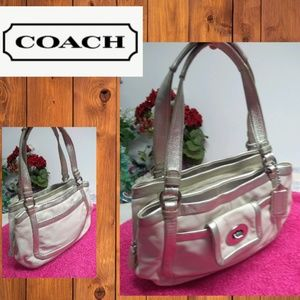 Coach Vintage White & Silver Leather  Satchel Tote